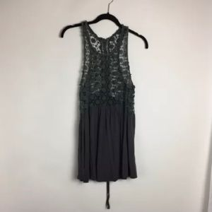 Vestique Gray Swim Cover Up With Lace Up Back